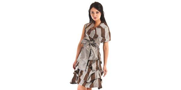 Dámske šedo-hnedé pruhované šaty Jolaby s veľkou mašľou