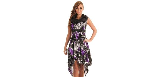 Dámske čierno-fialové vzorované šaty Jolaby