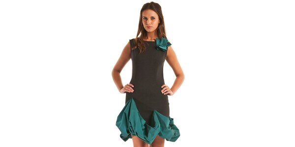 Dámske čierne púzdrové šaty Jolaby s tyrkysovým lemom