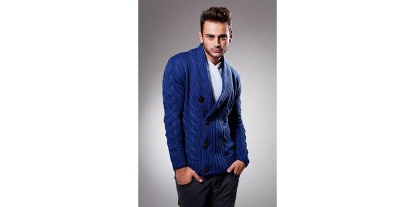 Pánsky tmavo modrý sveter Celop s hnedými gombičkami