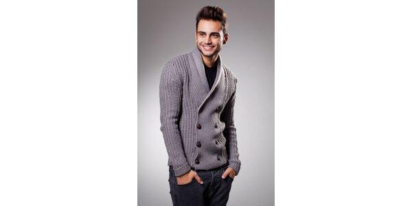 Pánsky šedý sveter Celop s hnedými gombičkami