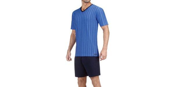 Pánske modré pruhované pyžamo Impetus