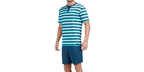 Pánske tyrkysové modré pruhované pyžamo Impetus