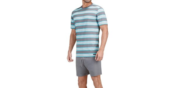 Pánske šedo-modré pruhované pyžamo Impetus