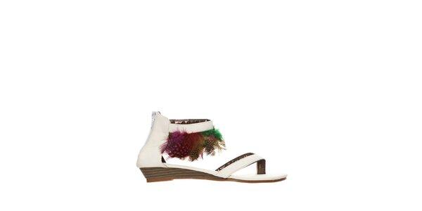 Dámske biele sandálky s perím Yook for you