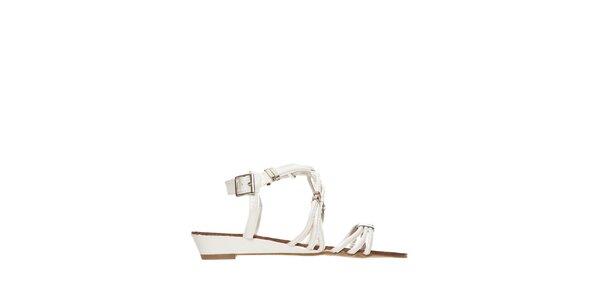Dámske biele sandálky s kovovými sponami Yook for you