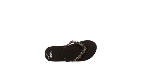 Dámske čierne žabky s farebnými korálkami Yook for you