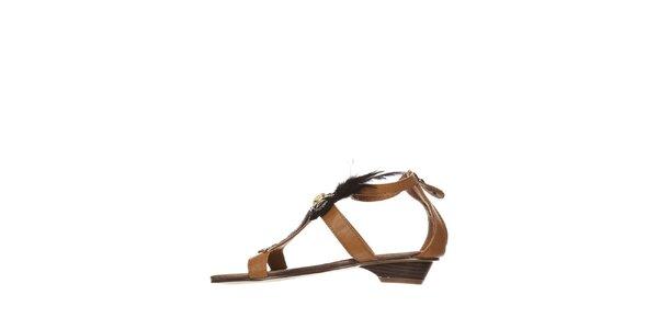 Dámske ťavie sandálky s čiernym perím a kamienkami Yook for you