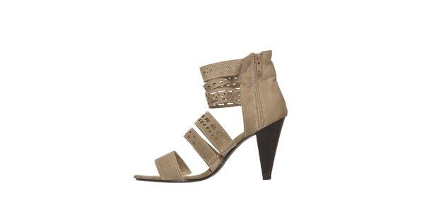Dámske béžové perforované sandálky na podpätku Yook for you