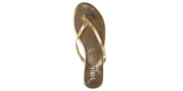 Dámske zlaté metalické žabky Yook for you