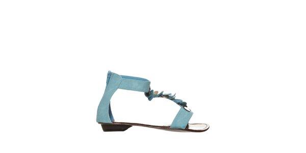 Dámske modré sandálky s kovovými peniažkami Yook for you