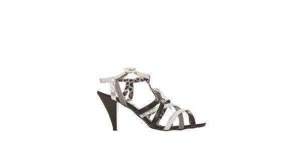 Dámske čierno-biele sandálky so zvieracou potlačou Yook for you