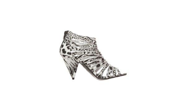 Dámske čierno-biele zvieracie sandálky Yook for you