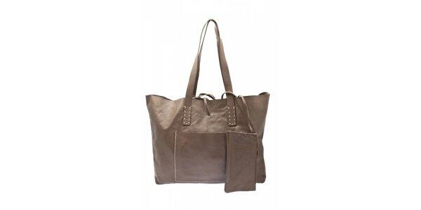 Dámska šedo-béžová kožená kabelka Free for Humanity
