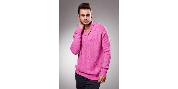 Pánsky ružový sveter Celop s límcom