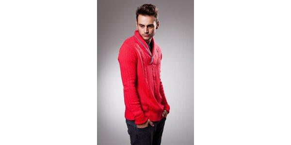 Pánsky červený sveter Celop s límcom