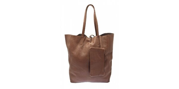 Dámska hnedá kožená kabelka Free for Humanity