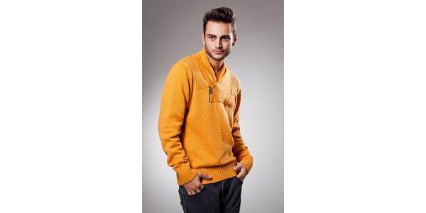 Pánsky oranžový sveter Celop s límcom