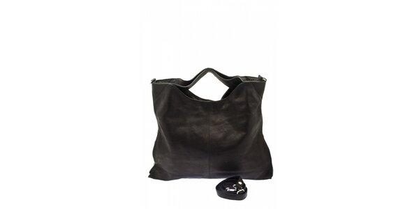 Dámska čierna kožená kabelka s postrannými zipsami Free for Humanity