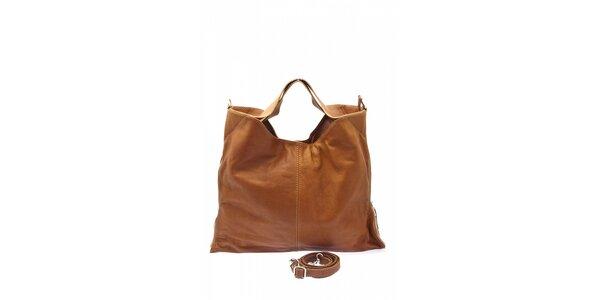 Dámska ťavia kožená kabelka s postrannými zipsami Free for Humanity