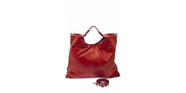 Dámska červená kožená kabelka s postrannými zipsami Free for Humanity
