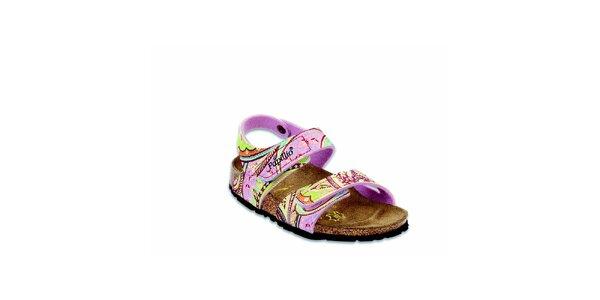 Detské ružové sandálky s kvetinovým vzorom Papillio