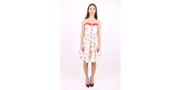 Dámske ružovo-biele šaty Superstition s motívom jabĺčok