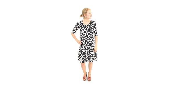 Dámske čierno-biele bodkované šaty Superstition