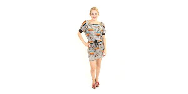 Dámske šedohnedé šaty Superstition s farebným vzorom