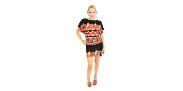 Dámske čierno-oranžové vzorované šaty Superstition