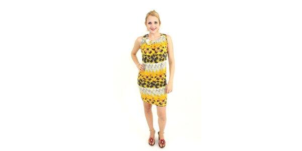 Dámske žlté šaty Superstition s kvetinovým vzorom