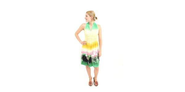 Dámske zeleno-žlté šaty Superstition s potlačou