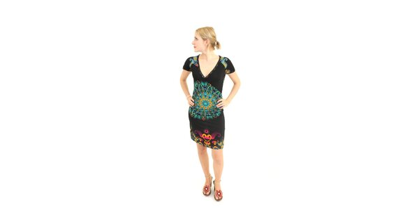 Dámske čierne šaty Superstition s farebným vzorom