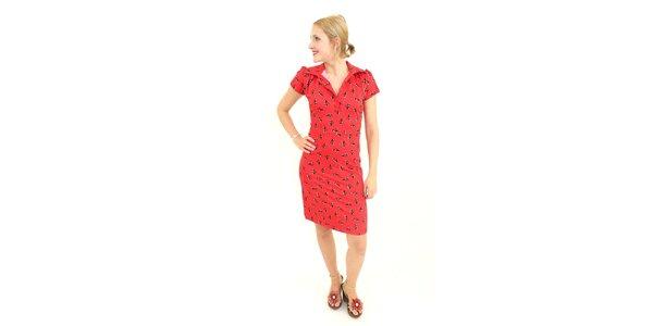 Dámske červené šaty Superstition s potlačou