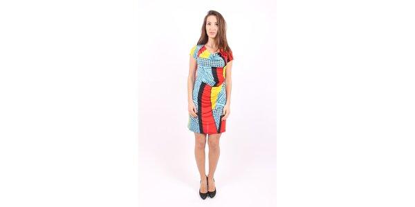 Dámske modro-červené šaty Superstition s potlačou