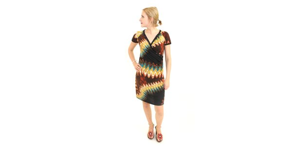 Dámske hnedo-zelené šaty Superstition s abstraktným vzorom