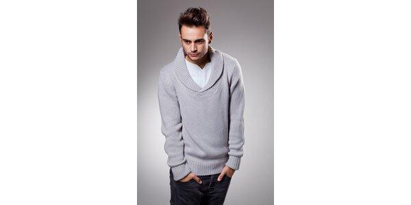 Pánsky svetlo šedý sveter Celop s límcom