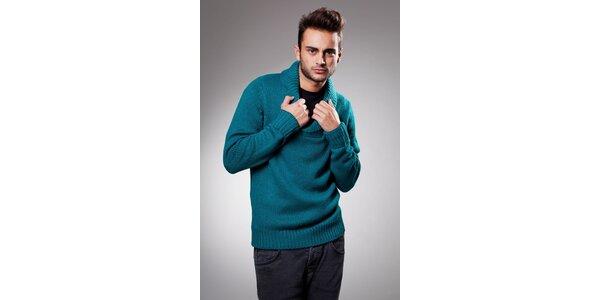 Pánsky tyrkysový sveter Celop s límcom