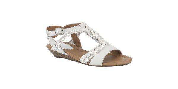 Dámske biele sandálky s vrkôčikmi Clarks