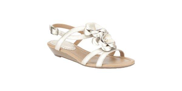 Dámske metalické sandálky s kvetinou Clarks