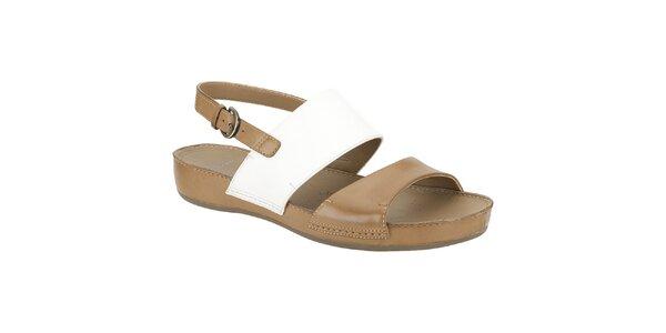 Dámske krémovo-hnedé kožené sandále Clarks