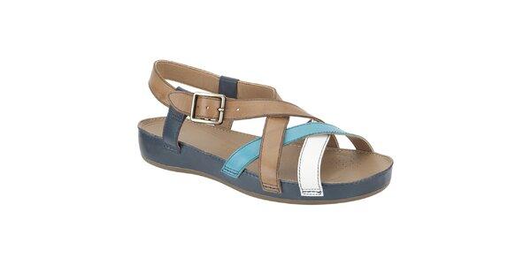 Dámske modro-béžové kožené sandále Clarks