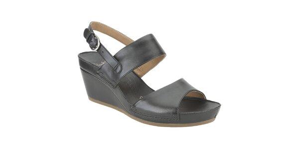 Dámske čierne kožené sandále Clarks