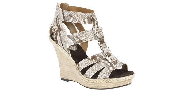 Dámske béžové sandálky s hadím vzorom Clarks