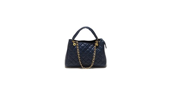 Dámska tmavo modrá prešívaná kabelka Sonia Ricci so zlatou retiazkou
