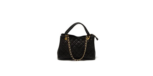 Dámska čierna prešívaná kabelka Sonia Ricci so zlatou retiazkou