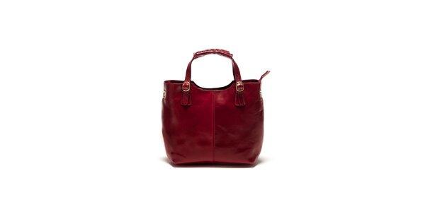 Dámska bordó kabelka s pletením Sonia Ricci