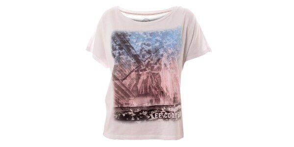 Dámske biele tričko s potlačou Lee Cooper