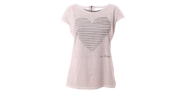 Dámske biele tričko s motívom srdca Lee Cooper