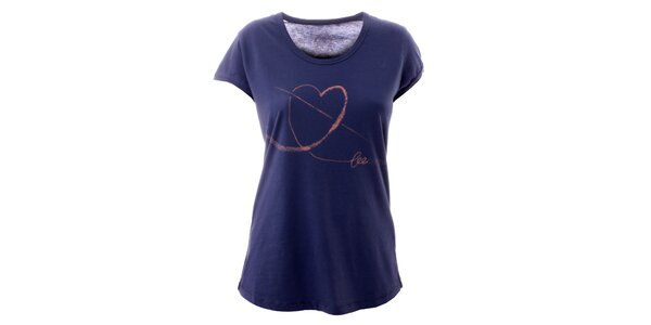 Dámske indigové tričko so srdiečkom Lee Copper